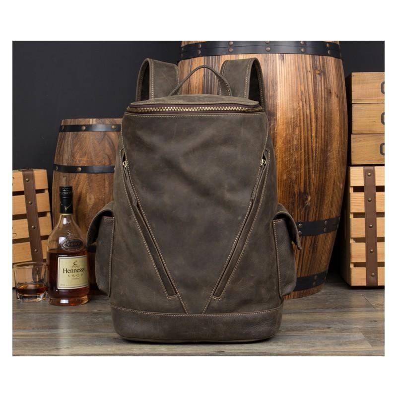 Вместительный городской рюкзак Coral Royal из натуральной кожи в стиле Craze Horse: кожа первый слой, унисекс - Коричневый