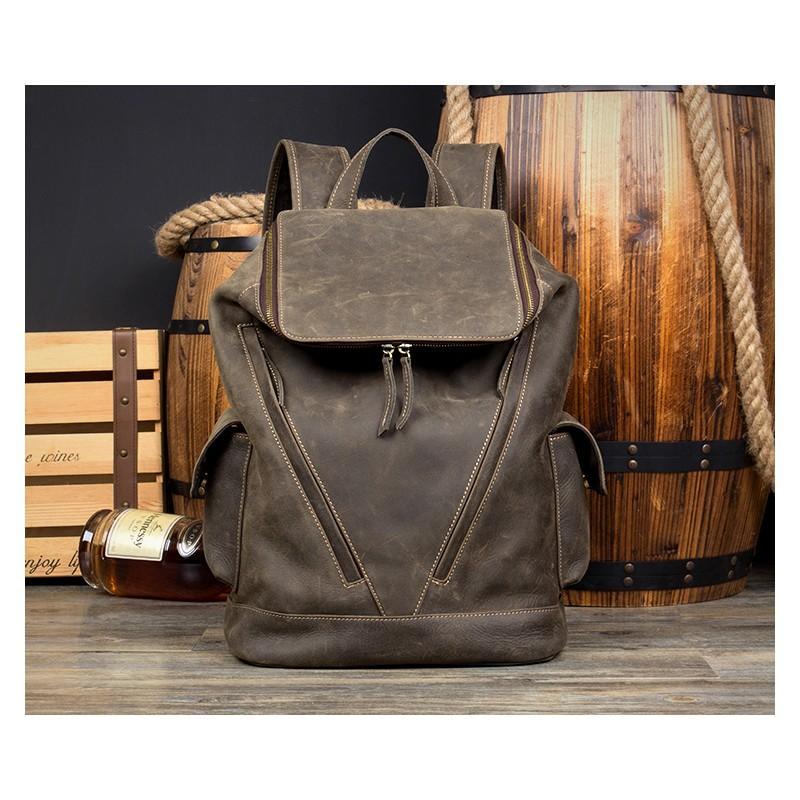 Вместительный городской рюкзак Coral Royal из натуральной кожи в стиле Craze Horse: кожа первый слой, унисекс 215646