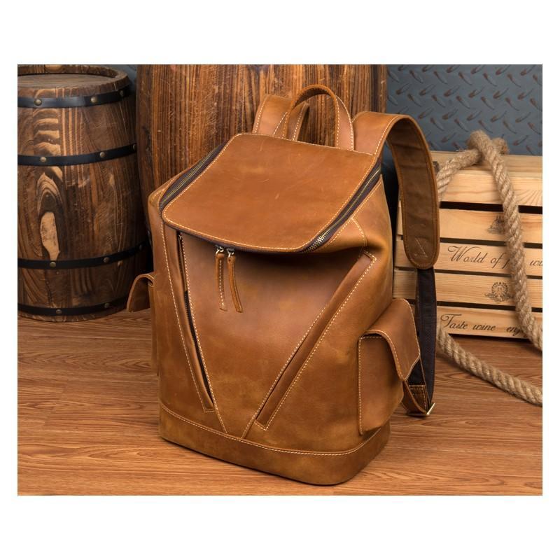 Вместительный городской рюкзак Coral Royal из натуральной кожи в стиле Craze Horse: кожа первый слой, унисекс 215648