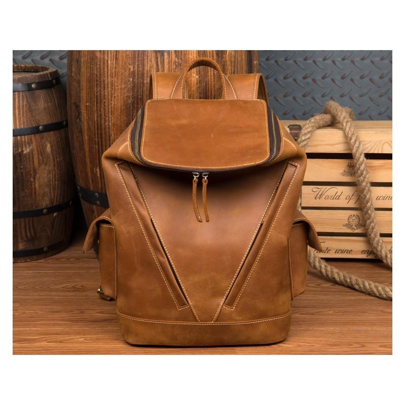 Вместительный городской рюкзак Coral Royal из натуральной кожи в стиле Craze Horse: кожа первый слой, унисекс 215649