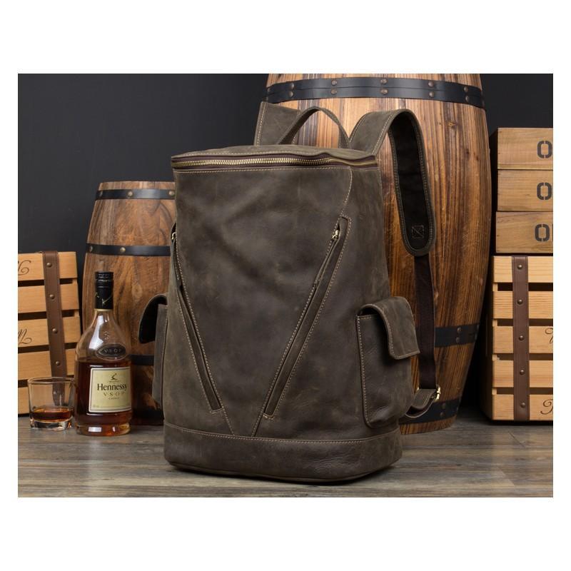 Вместительный городской рюкзак Coral Royal из натуральной кожи в стиле Craze Horse: кожа первый слой, унисекс 215653