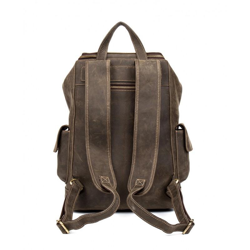Вместительный городской рюкзак Coral Royal из натуральной кожи в стиле Craze Horse: кожа первый слой, унисекс 215654