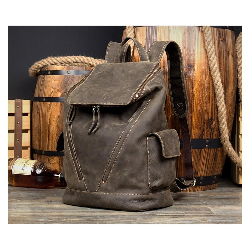 Вместительный городской рюкзак Coral Royal из натуральной кожи в стиле Craze Horse: кожа первый слой, унисекс 215655