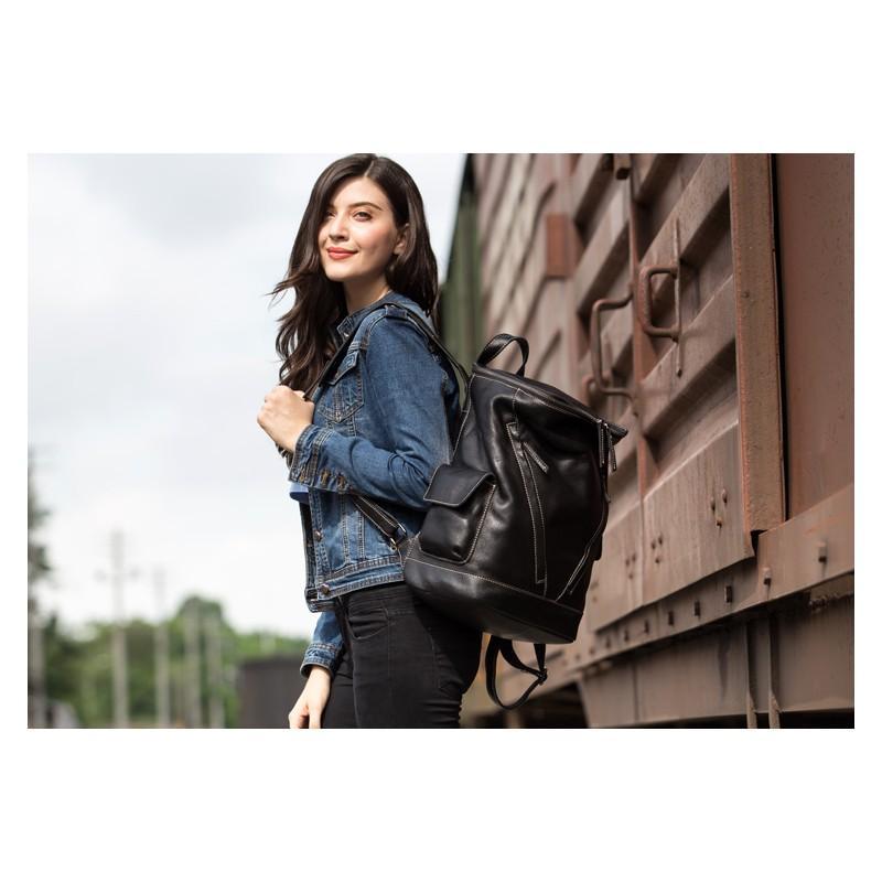 Вместительный городской рюкзак Coral Royal из натуральной кожи в стиле Craze Horse: кожа первый слой, унисекс 215656