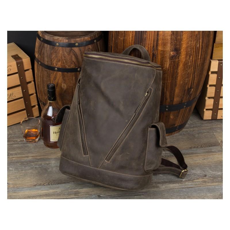 Вместительный городской рюкзак Coral Royal из натуральной кожи в стиле Craze Horse: кожа первый слой, унисекс 215658