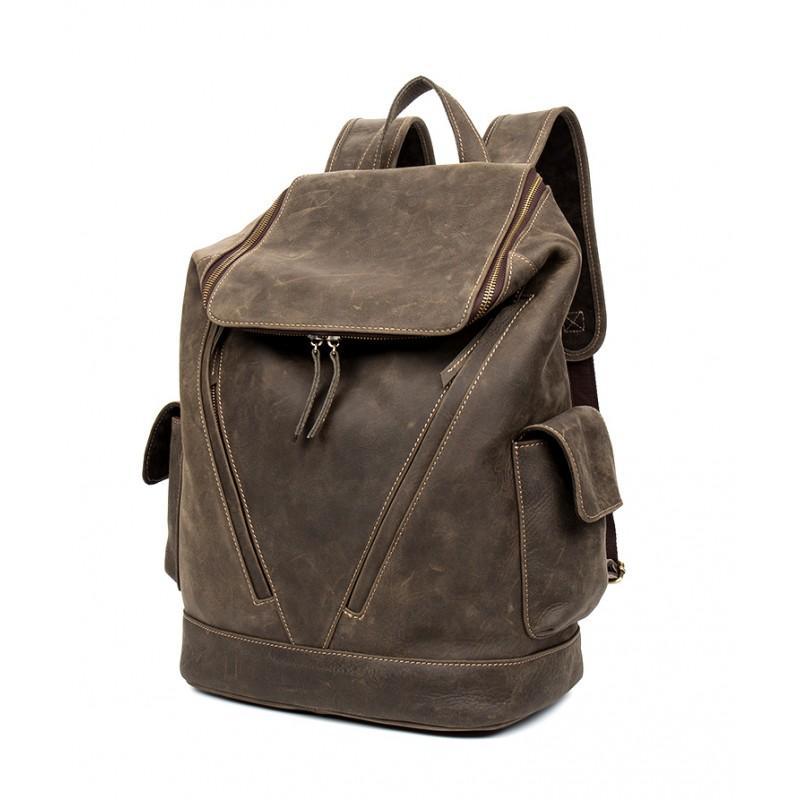 Вместительный городской рюкзак Coral Royal из натуральной кожи в стиле Craze Horse: кожа первый слой, унисекс 215659