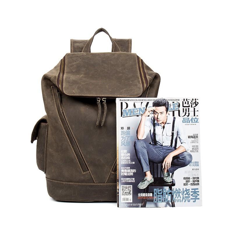 Вместительный городской рюкзак Coral Royal из натуральной кожи в стиле Craze Horse: кожа первый слой, унисекс 215662