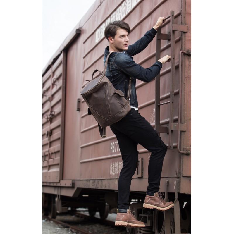 Вместительный городской рюкзак Coral Royal из натуральной кожи в стиле Craze Horse: кожа первый слой, унисекс 215663