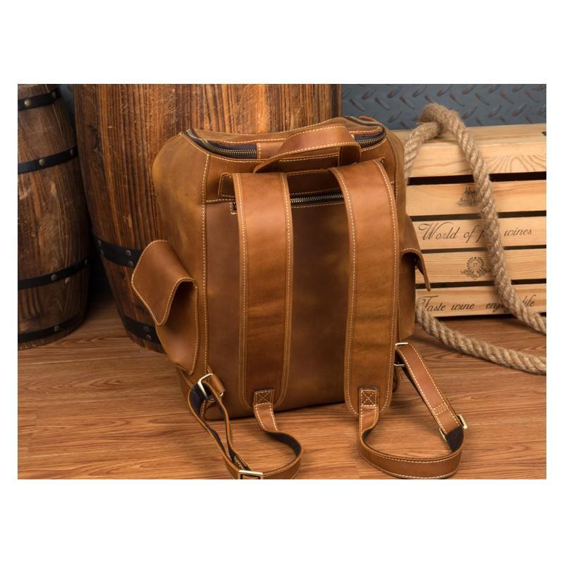 Вместительный городской рюкзак Coral Royal из натуральной кожи в стиле Craze Horse: кожа первый слой, унисекс 215666