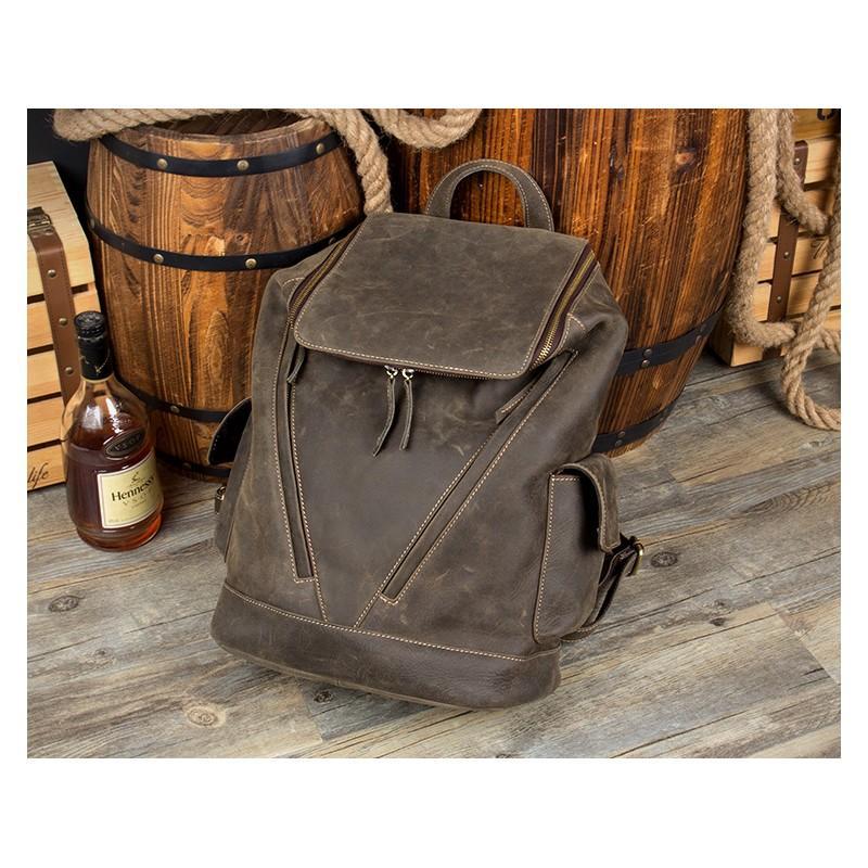 Вместительный городской рюкзак Coral Royal из натуральной кожи в стиле Craze Horse: кожа первый слой, унисекс 215667