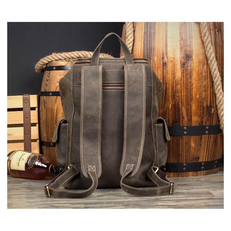 Вместительный городской рюкзак Coral Royal из натуральной кожи в стиле Craze Horse: кожа первый слой, унисекс 215668