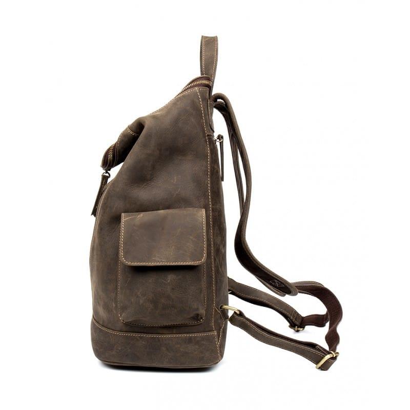 Вместительный городской рюкзак Coral Royal из натуральной кожи в стиле Craze Horse: кожа первый слой, унисекс 215669