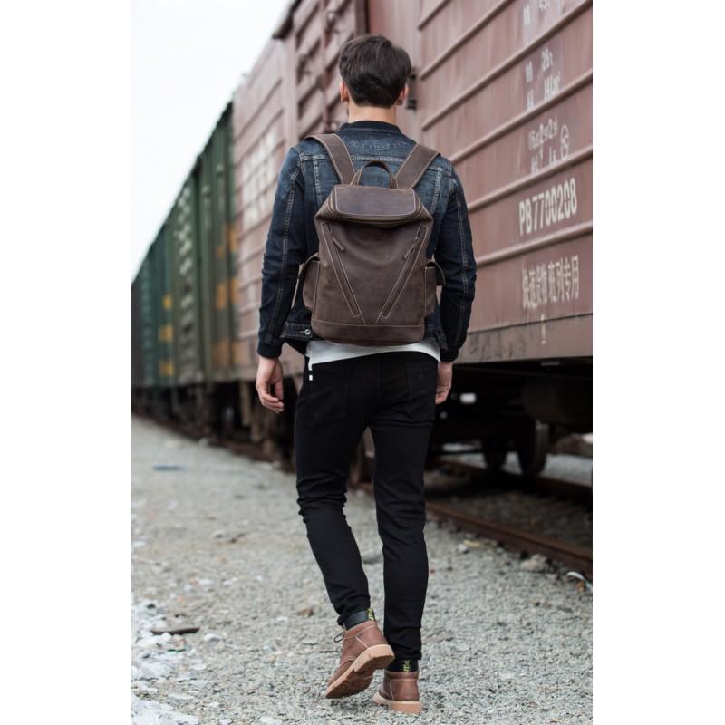 Вместительный городской рюкзак Coral Royal из натуральной кожи в стиле Craze Horse: кожа первый слой, унисекс 215671