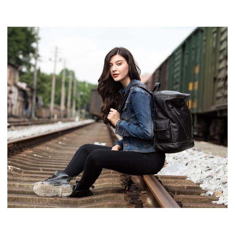 Вместительный городской рюкзак Coral Royal из натуральной кожи в стиле Craze Horse: кожа первый слой, унисекс 215672