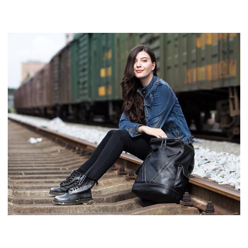 Вместительный городской рюкзак Coral Royal из натуральной кожи в стиле Craze Horse: кожа первый слой, унисекс 215673