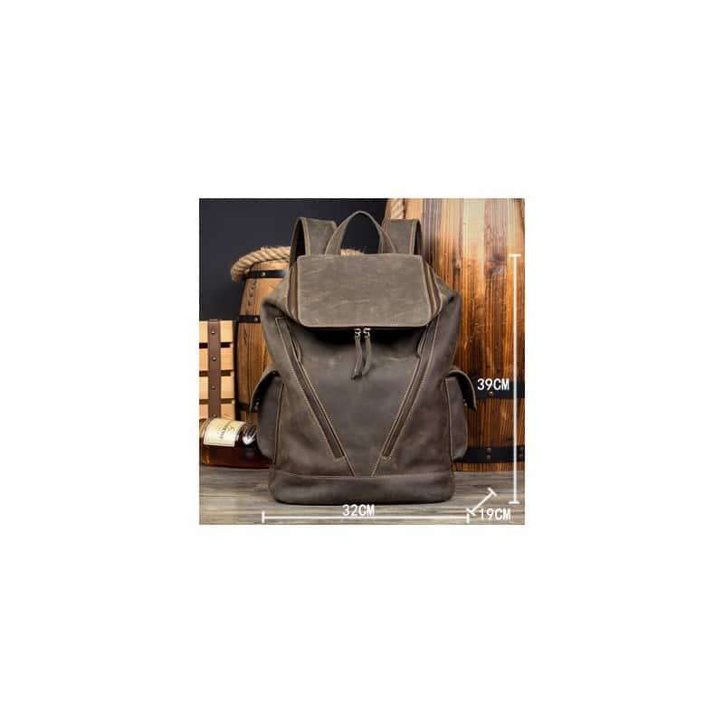Вместительный городской рюкзак Coral Royal из натуральной кожи в стиле Craze Horse: кожа первый слой, унисекс 215676