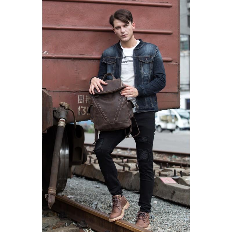 Вместительный городской рюкзак Coral Royal из натуральной кожи в стиле Craze Horse: кожа первый слой, унисекс 215678
