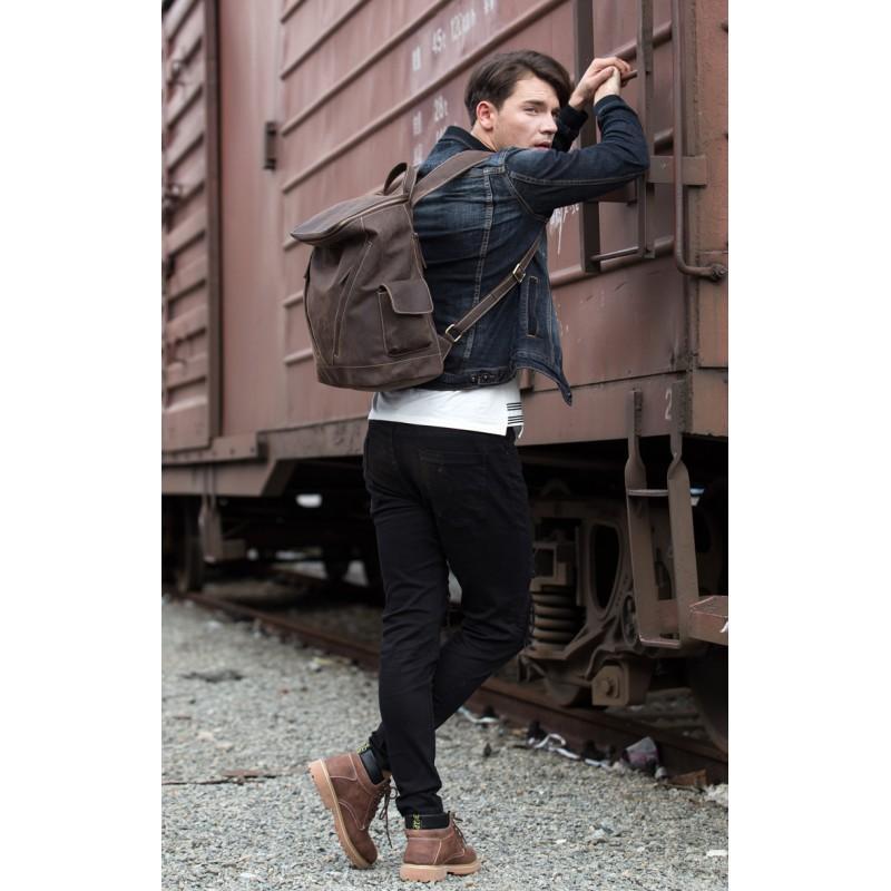 Вместительный городской рюкзак Coral Royal из натуральной кожи в стиле Craze Horse: кожа первый слой, унисекс 215679