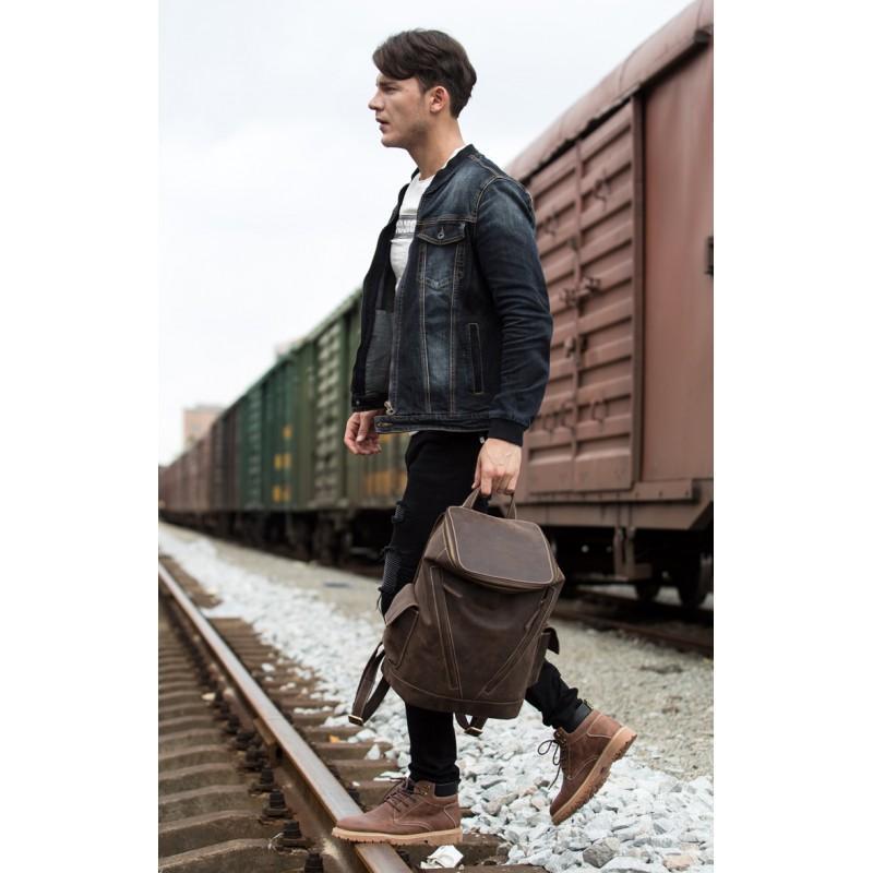 Вместительный городской рюкзак Coral Royal из натуральной кожи в стиле Craze Horse: кожа первый слой, унисекс 215681