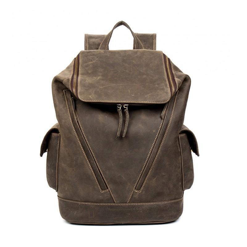 Вместительный городской рюкзак Coral Royal из натуральной кожи в стиле Craze Horse: кожа первый слой, унисекс 215683