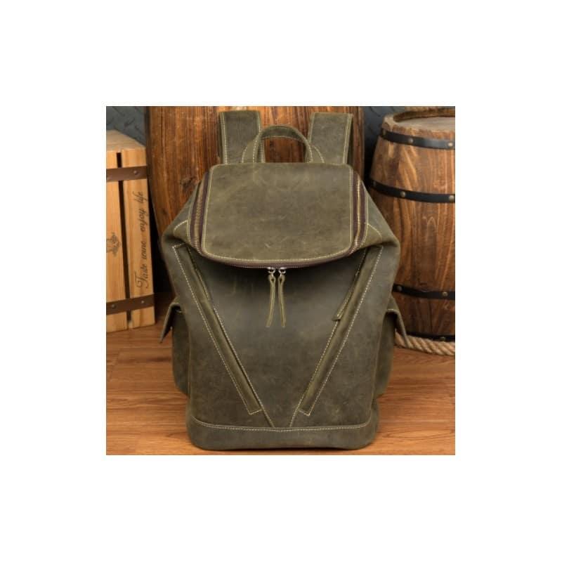 Вместительный городской рюкзак Coral Royal из натуральной кожи в стиле Craze Horse: кожа первый слой, унисекс 215684