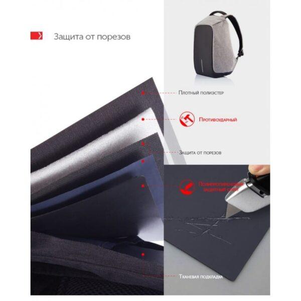 40225 - Городской рюкзак-антивор Bobby с защитой от карманников и USB-портом для зарядки: водонепроницаемая ткань с защитой от порезов