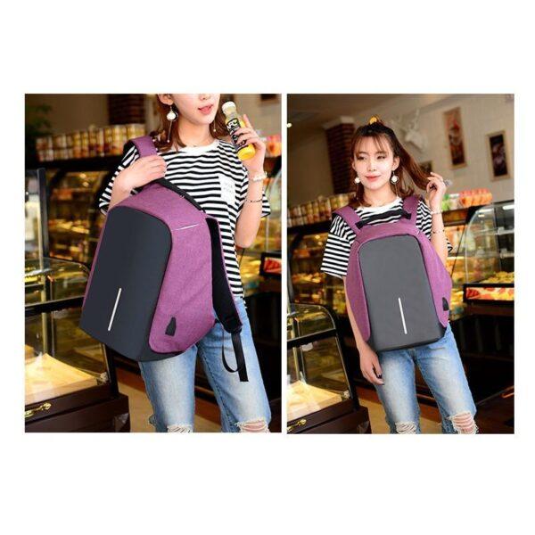 40231 - Городской рюкзак-антивор Bobby с защитой от карманников и USB-портом для зарядки: водонепроницаемая ткань с защитой от порезов