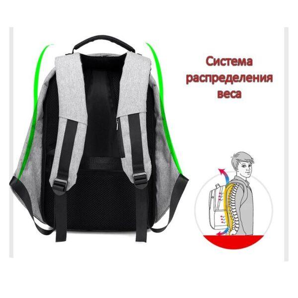 40245 - Городской рюкзак-антивор Bobby с защитой от карманников и USB-портом для зарядки: водонепроницаемая ткань с защитой от порезов