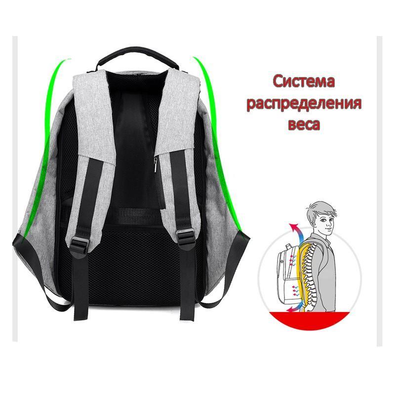 Городской рюкзак-антивор Bobby с защитой от карманников и USB-портом для зарядки: водонепроницаемая ткань с защитой от порезов 215709