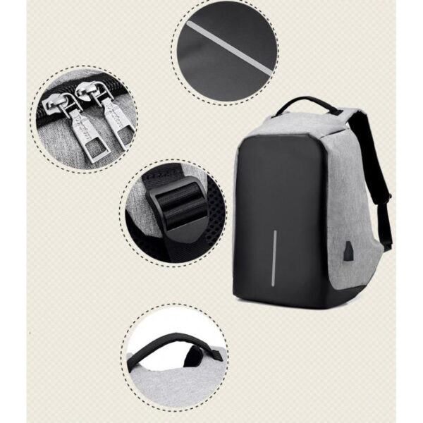 40252 - Городской рюкзак-антивор Bobby с защитой от карманников и USB-портом для зарядки: водонепроницаемая ткань с защитой от порезов