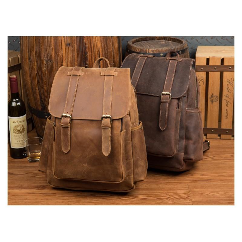 Мужская сумка-портфель Mantime June из натуральной кожи Crazy Horse в стиле ретро 215771