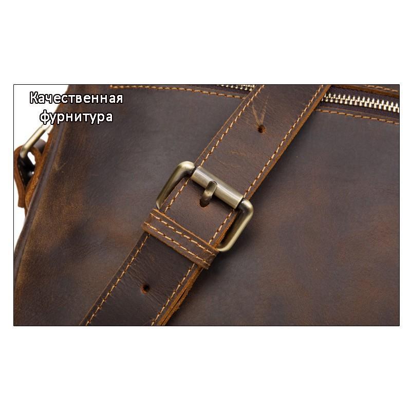 Мужская плечевая сумка Mantime August из натуральной кожи Crazy Horse - Кофейный