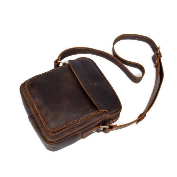 40317 - Мужская плечевая сумка Mantime August из натуральной кожи Crazy Horse