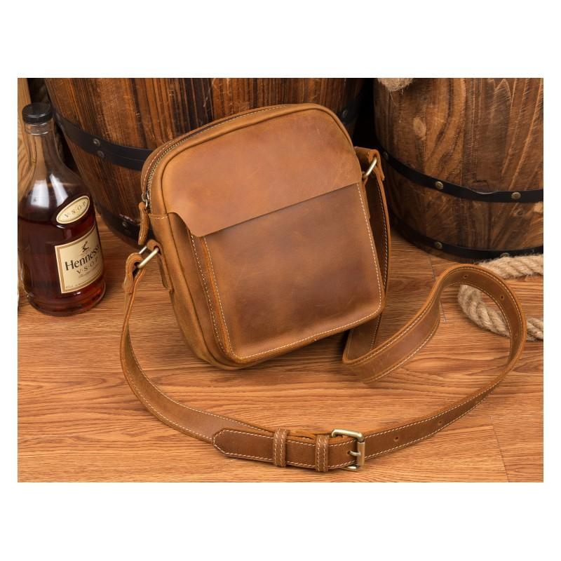 Мужская плечевая сумка Mantime August из натуральной кожи Crazy Horse 215780