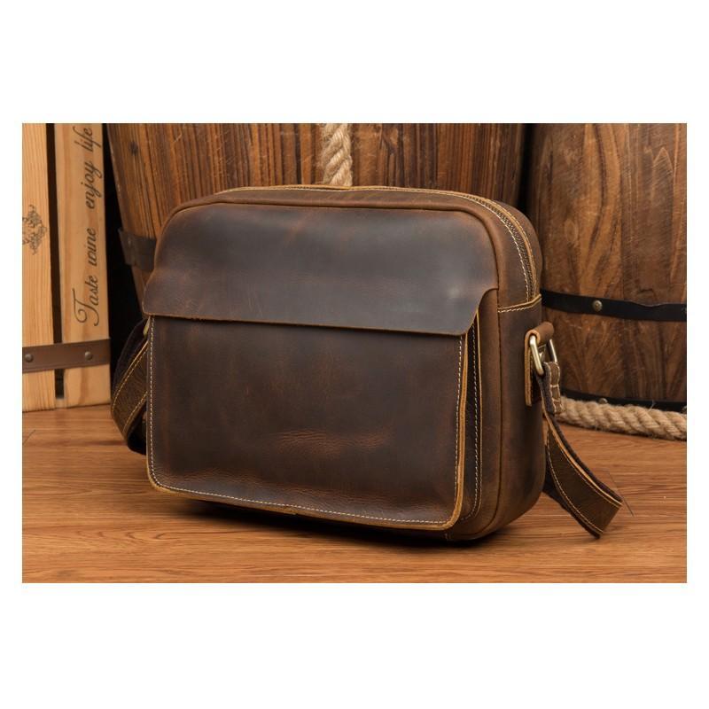 Мужская плечевая сумка Mantime August из натуральной кожи Crazy Horse 215785