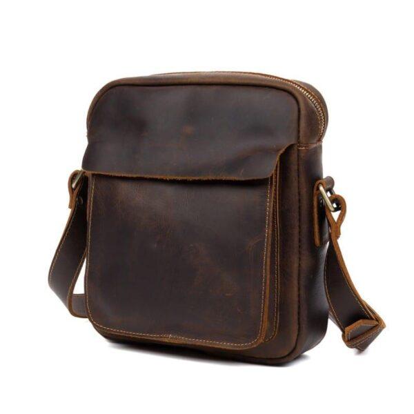 40329 - Мужская плечевая сумка Mantime August из натуральной кожи Crazy Horse