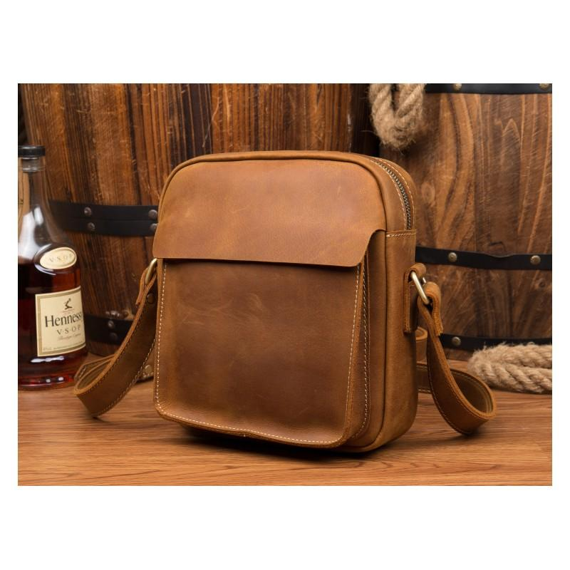 40333 - Мужская плечевая сумка Mantime August из натуральной кожи Crazy Horse