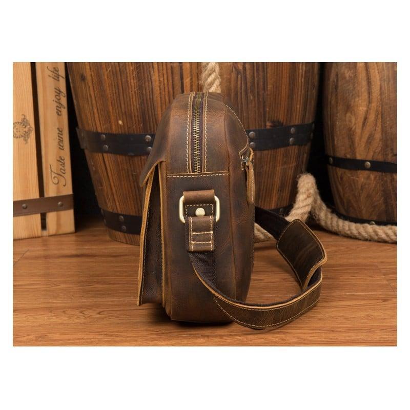 Мужская плечевая сумка Mantime August из натуральной кожи Crazy Horse 215803