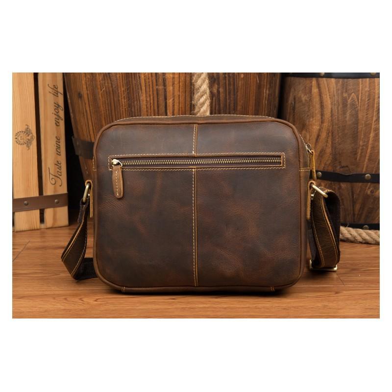 Мужская плечевая сумка Mantime August из натуральной кожи Crazy Horse 215805