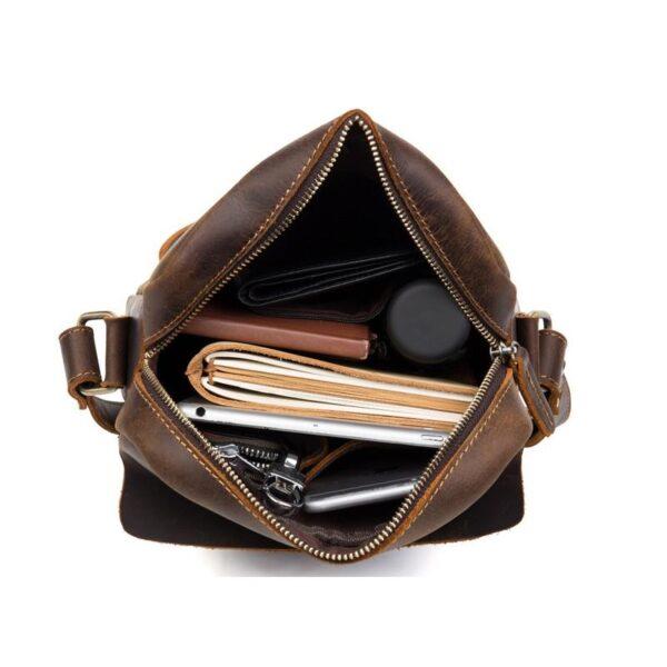 40350 - Мужская плечевая сумка Mantime August из натуральной кожи Crazy Horse