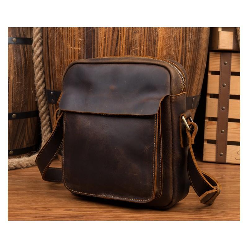 Мужская плечевая сумка Mantime August из натуральной кожи Crazy Horse 215812