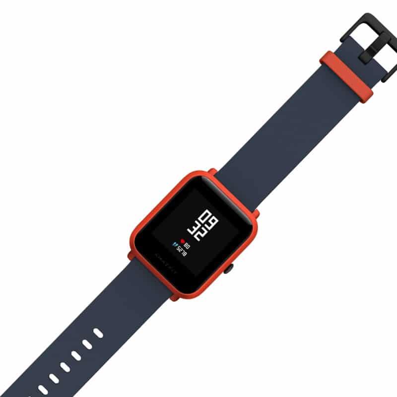 """Смарт-часы Xiaomi Huami Amazfit Bip: 1,28"""" OLED экран, Bluetooth вызовы, СМС, IP68, шагомер, пульсометр, GPS, заряд на 45 дней - Красно-черный"""