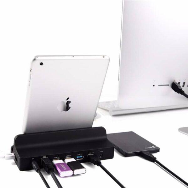 40446 - Универсальная док-станция ORICO SH4C2/ активный USB-хаб с подставкой для планшета: 4хUSB 3.0, 2 умных USB 2,4А, питание 12В/2.5A