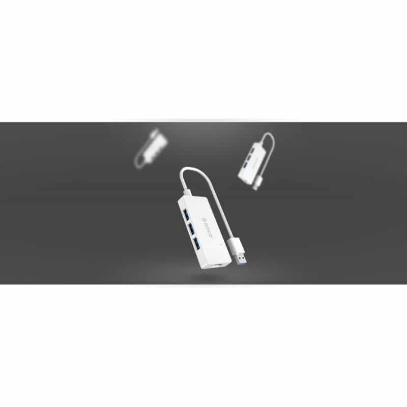 Активный USB-хаб для зарядки и передачи данных ORICO HS4U-U3: 4 USB 3.0 порта, поддержка внешнего источника питания 5В 215910