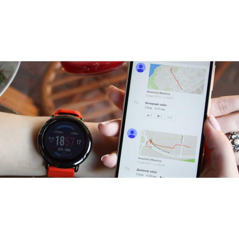 Спортивные смарт-часы Xiaomi HUAMI AMAZFIT Pace: 1,34´´ экран, шагомер, пульсометр, GPS, Bluetooth, IP67, Strava, 4Гб память 216013