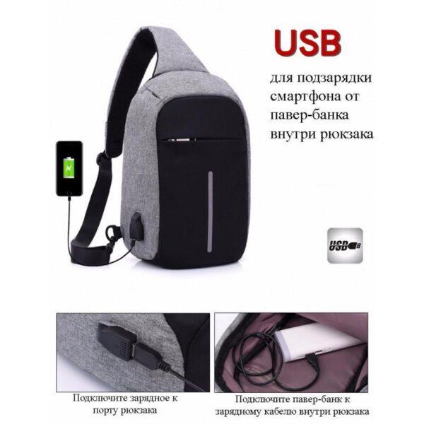 40572 - Городской рюкзак-антивор Bobby Mini с защитой от карманников и USB-портом для зарядки: водонепроницаемый, защита от порезов