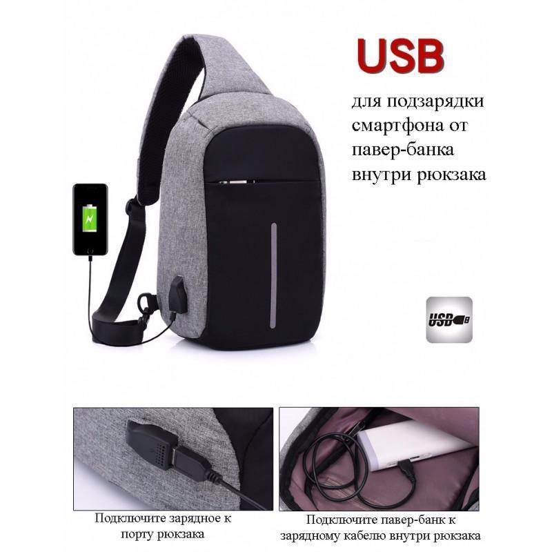 Городской рюкзак-антивор Bobby Mini с защитой от карманников и USB-портом для зарядки: водонепроницаемый, защита от порезов - Серый