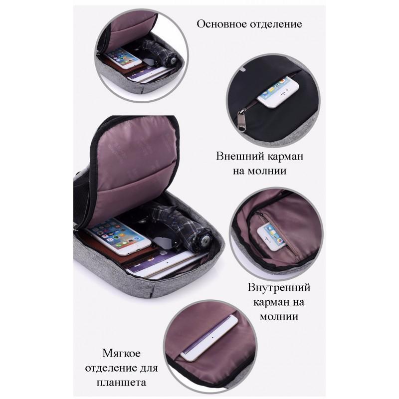 Городской рюкзак-антивор Bobby Mini с защитой от карманников и USB-портом для зарядки: водонепроницаемый, защита от порезов 216023