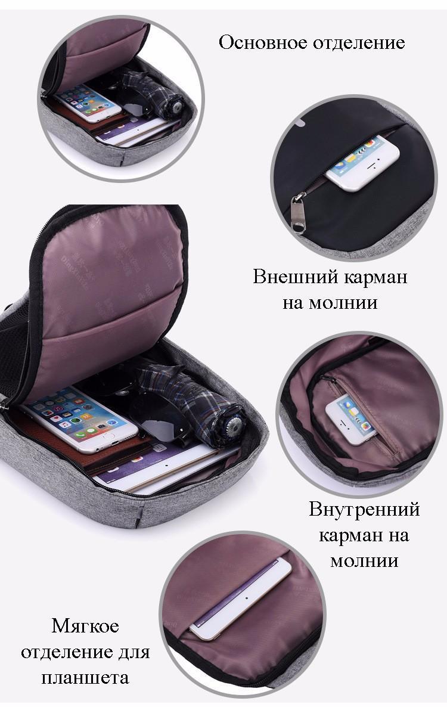 40579 - Городской рюкзак-антивор Bobby Mini с защитой от карманников и USB-портом для зарядки: водонепроницаемый, защита от порезов