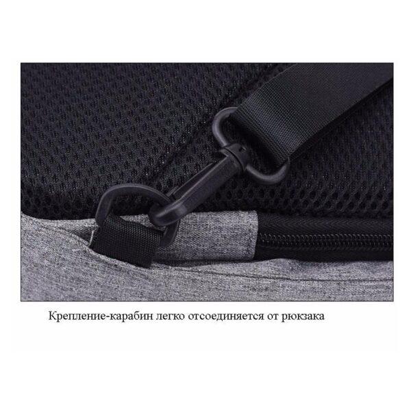 40585 - Городской рюкзак-антивор Bobby Mini с защитой от карманников и USB-портом для зарядки: водонепроницаемый, защита от порезов